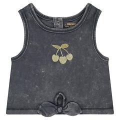 Camiseta corta de punto teñido con cerezas doradas