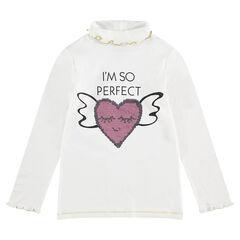 Camiseta interior con cuello vuelto y corazón de lentejuelas mágicas roda/dorado