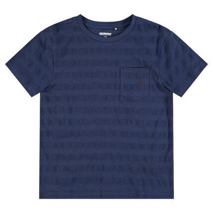 Júnior - Camiseta de manga corta con bolsillo y rayas