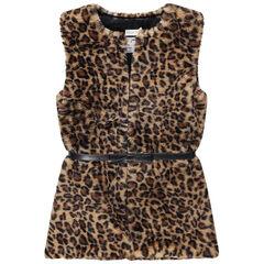Júnior - Chaqueta de pelo falso con efecto de leopardo con cinturón