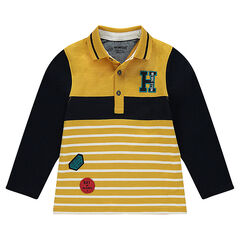 Polo de manga larga de jersey con parches y letra bordada
