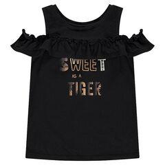 Camiseta con hombros calados con mensaje estampado dorado
