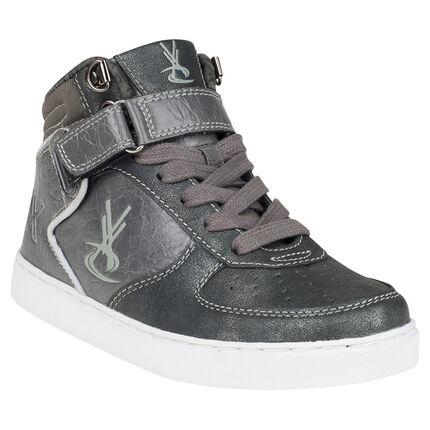 Zapatillas de deporte de caña alta con cordones con velcro de aspecto cuero efecto usado