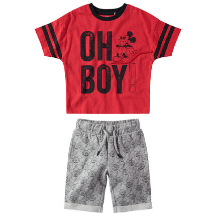 Conjunto de camiseta con mensaje estampado y bermudas estampadas Mickey ©Disney all-over