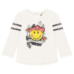 Camiseta de manga larga de punto slub con estampado  ©Smiley estilo rock