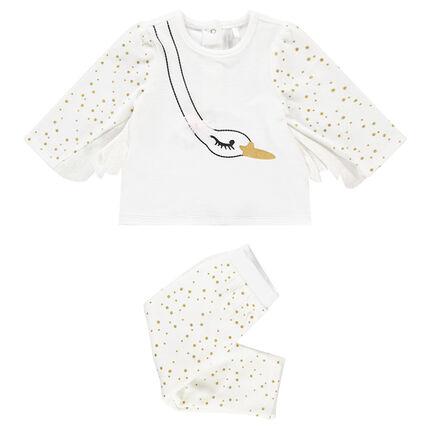 Pijama de terciopelo con dibujo de cisne y alas de fantasía con lunares estampados
