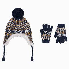 Conjunto de gorro peruano con forro polar y gantes con dibujo de jacquard