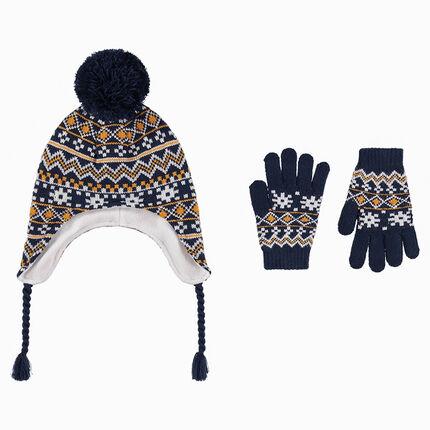 Conjunto de gorro peruano con forro polar y gantes con dibujo de jacquard a9588206d61