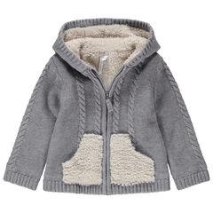 Chaqueta con capucha de punto con forro de borreguillo y detalles bordados