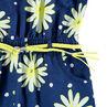 Mono corto de punto de fantasía con flores estampadas y cinturón trenzado