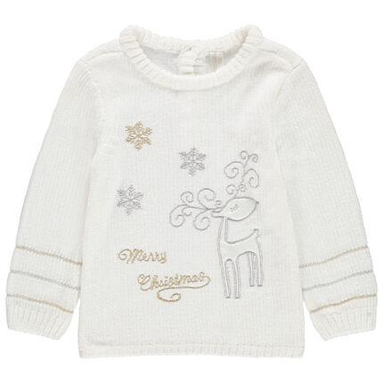 Jersey de punto de oruga con bordados de estilo navideño y plateados