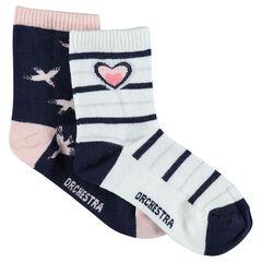 Juego de 2 pares de calcetines a juego con pájaros y rayas