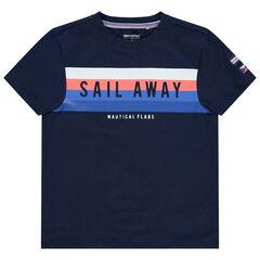 Camiseta de manga corta con rayas que contrastan