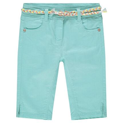 Pantalón corto de algodón liso con cinturón trenzado desmontable