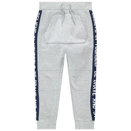 Pantalón de chándal de felpa con bandas que contrastan y bolsillo de canguro