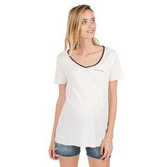 Camiseta de premamá lisa con parche en el pecho