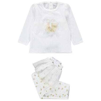 Pijama de terciopelo con mariposa y volantes de tul