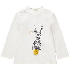 Camiseta interior con cuello subido de algodón ecológico y animal con estampado de leopardo