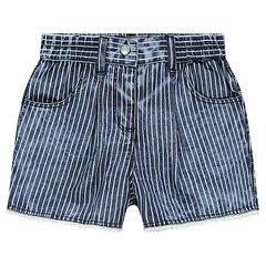 Pantalón corto de cambray de rayas con pompones de fantasía