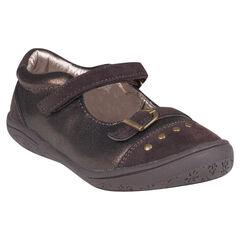 Zapatos merceditas con hebilla de color cobrizo con remaches