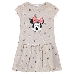 Vestido de muletón con estampado de lazos y Minnie