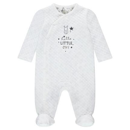 Pijama con forro de punto, inscripciones y conejo bordados