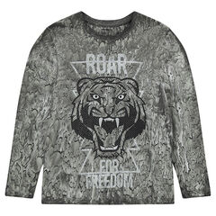 Júnior - Camiseta de manga larga con tigre estampado