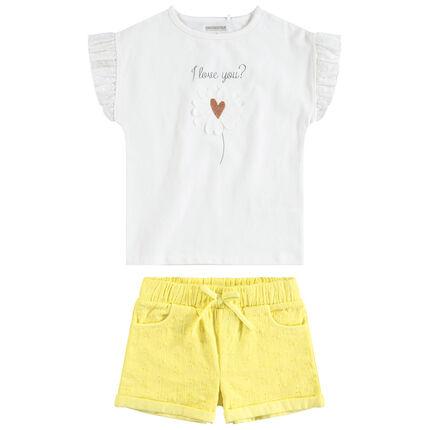 Conjunto de camiseta de manga con volantes y pantalón corto amarillo bordado