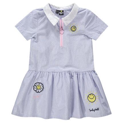 Vestido de manga corta con rayas brillantes y bordados ©Smiley