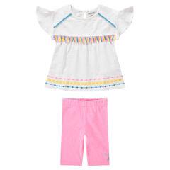 Conjunto de camiseta con pompones y leggings cortos