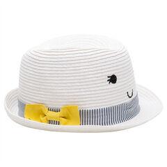 Sombrero de paja con cinta, rayas y lazo amarillo
