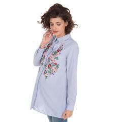 Camisa premamá a rayas con bordados florales