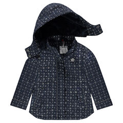 Parka de goma con estrellas all-over y forro de borreguito