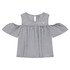 Júnior - Camiseta sin mangas con hombros calados y mariposa bordada