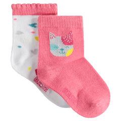 Juego de 2 pares de calcetines variados con gato y corazones de jacquard