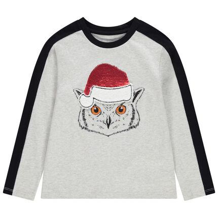 Camiseta de manga larga con búho y lentejuelas mágicas de estilo navideño