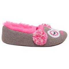 Zapatillas planas de punto brillante con forro de pelo sintético rosa