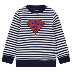 Sudadera de punto de fantasía con rayas y logo ©Warner Superman de rizo