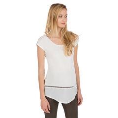 Camiseta de premamá de manga corta de punto calado
