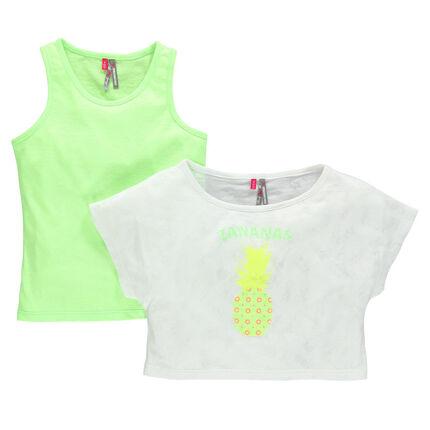 Tee-shirt 2 en 1 aspect dévoré avec print ananas