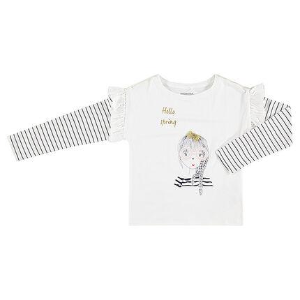 Camiseta de manga larga con forma cuadrada y estampado de fantasía