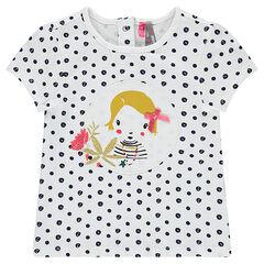 Camiseta de manga corta con lunares y parches de fantasía