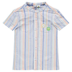 Camisa de algodón de rayas all over y parches ©Smiley