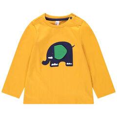 Camiseta de manga larga de punto con elefante cosido