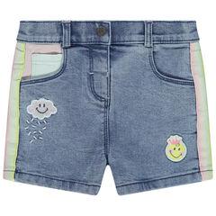 pantalon corto  vaquero efecto used à bandas contrastadas y Badges Smiley