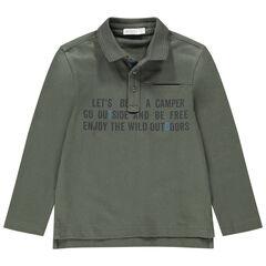 Polo de manga larga de punto de jersey con mensaje estampado
