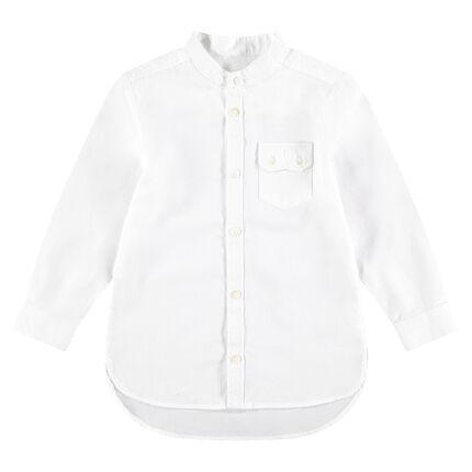 Camisa de manga larga de algodón fantasía con bolsillo con solapa