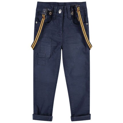 Pantalón de algodón de efecto teñido y arrugado con tirantes de rayas desmontables