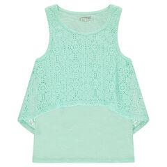 Júnior - Camiseta de punto slub con encaje