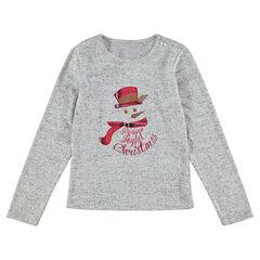 Júnior - Camiseta de Navidad de manga larga con parche de muñeco de nieve bordado